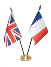 UNION JACK / FRANCE - Table Flag Set with GOLDEN BASE